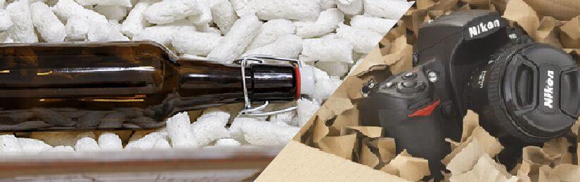 Paketinhalt mit Polsterchips polstern und schützen